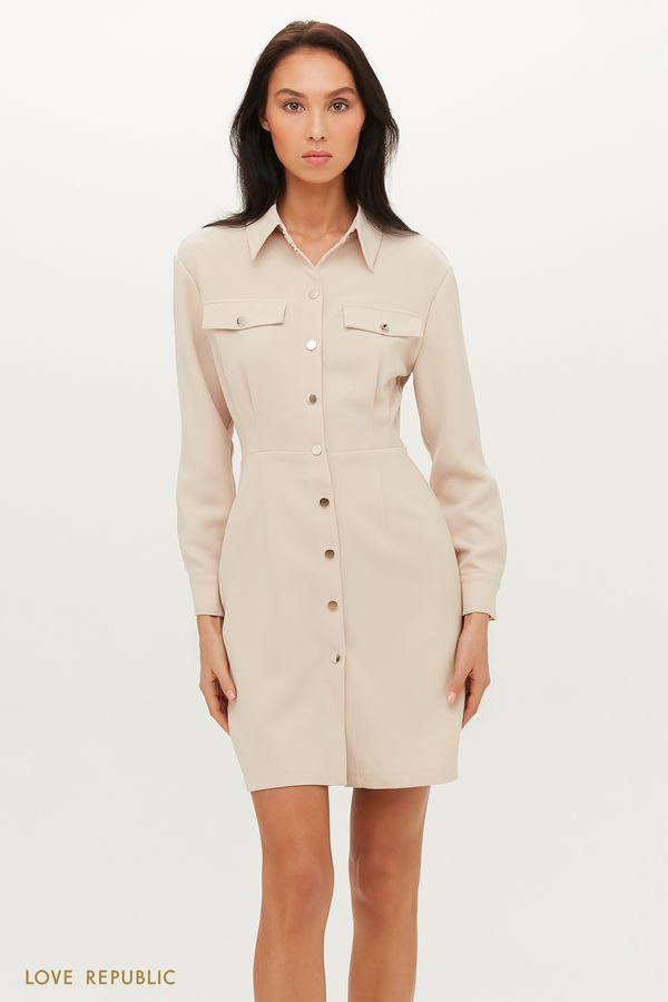 Приталенное платье-рубашка длины мини 1151219551-61