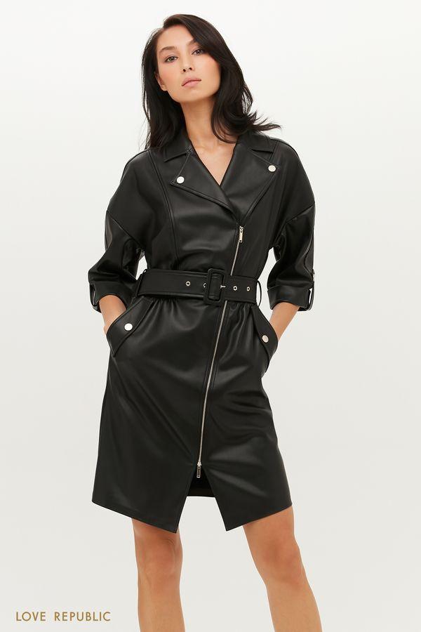 Платье из экокожи в стиле гранж с акцентным поясом 1151226554-63