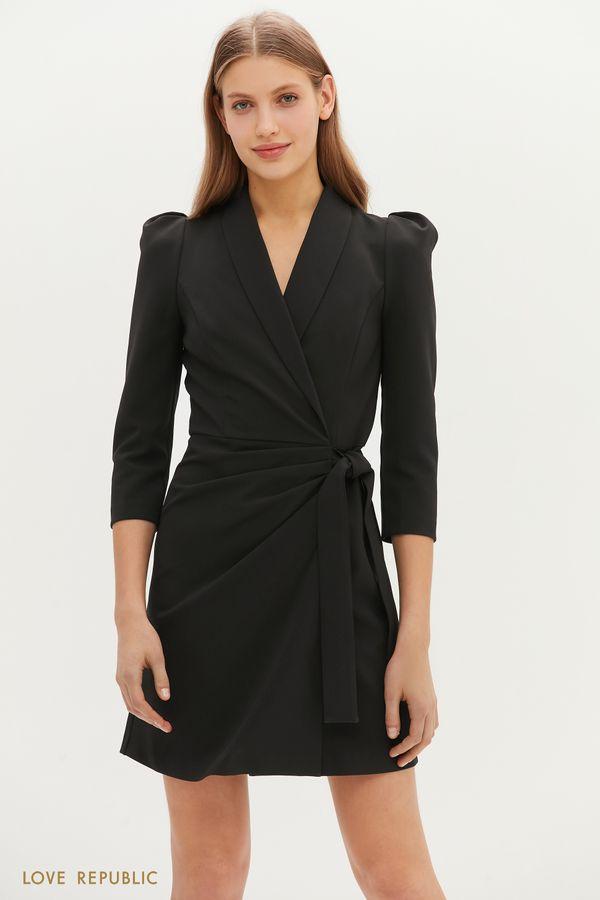 Утонченное платье с запахом и узкими лацканами 1151235559-61