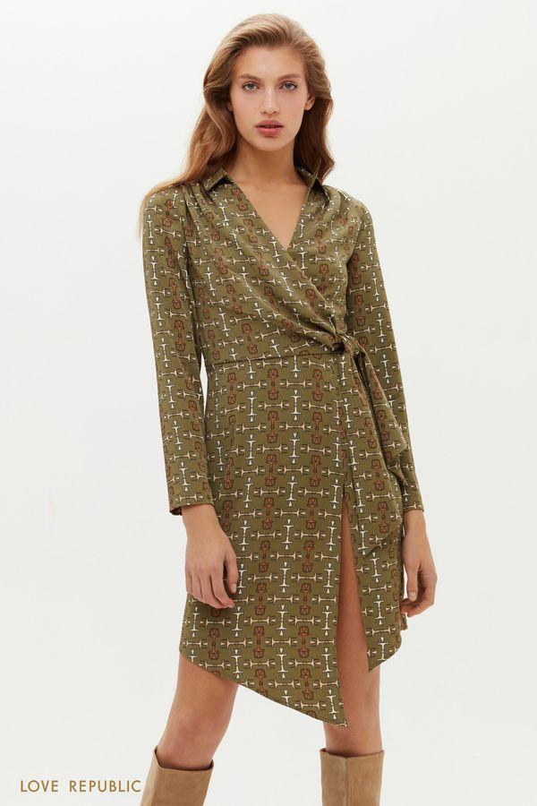Асимметричное платье на запах с графичным принтом 1151236560-14