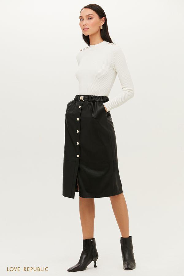 Утонченная юбка миди на пуговицах из экокожи 1151247217-61