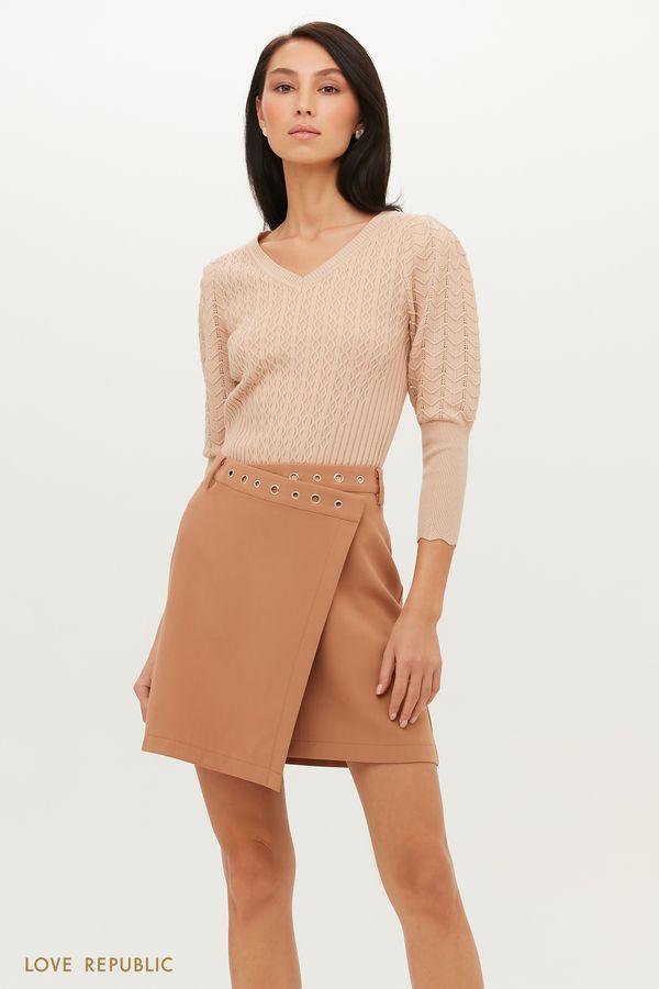 Асимметричная мини-юбка с запахом 1151248207-50