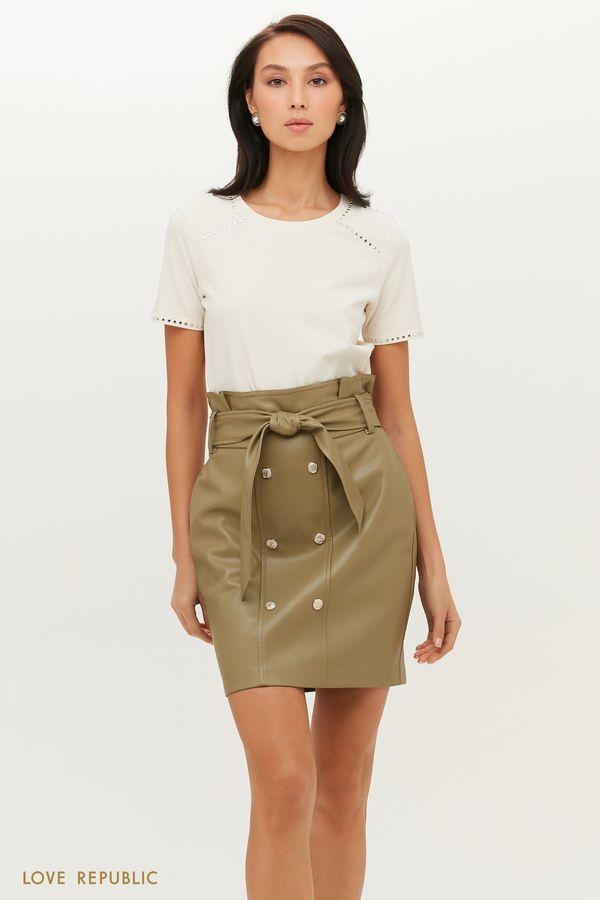 Двубортная юбка мини из экокожи с поясом 1151249218-50