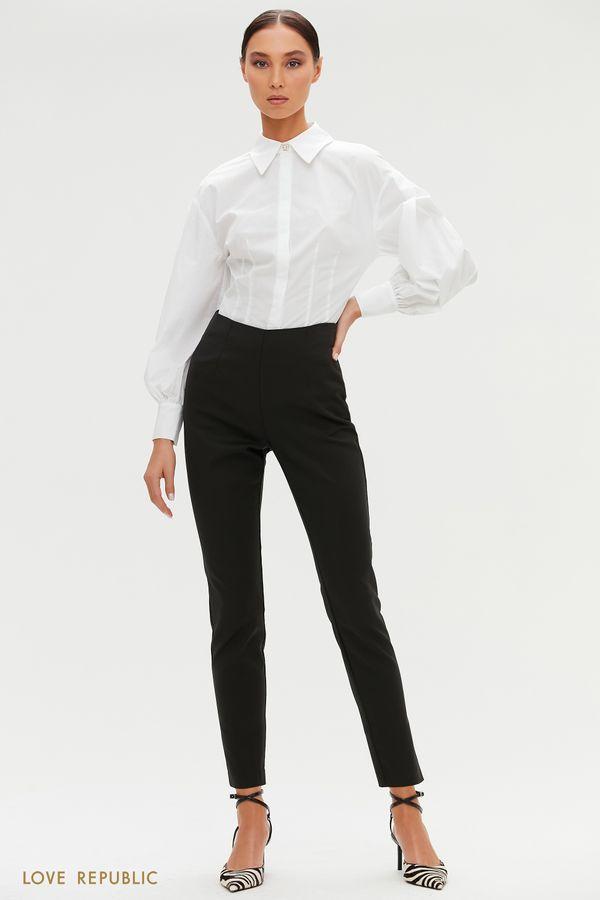 Черные зауженные брюки с высокой посадкой 1151255738-50