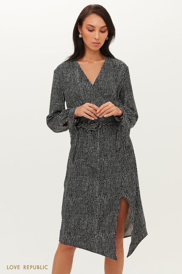 Черное платье с запахом с мелким анималистичным принтом 1151257552-53