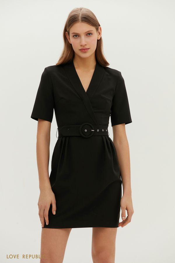 Приталенное платье мини с акцентным поясом 1151259581-13