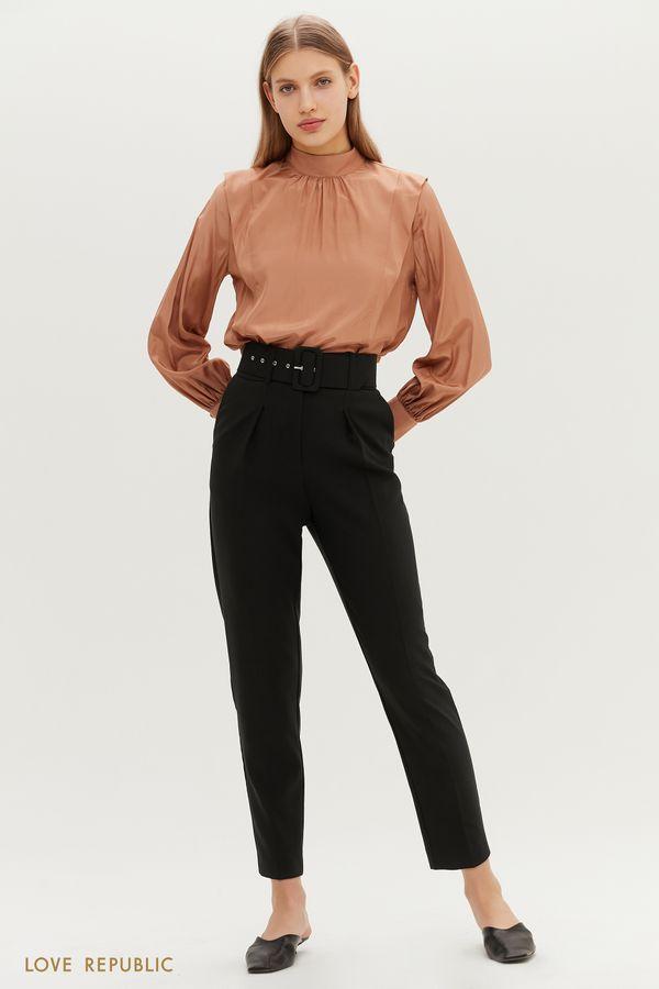 Трендовые брюки с высокой посадкой и защипами на бедрах 1151261745-47