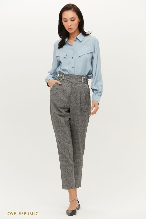 Серые брюки с защипами на талии 1151263747-34