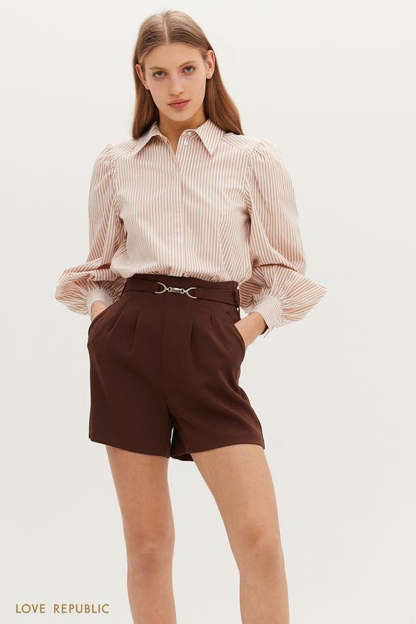 Короткие шорты с фигурным поясом на талии 1151264748-22