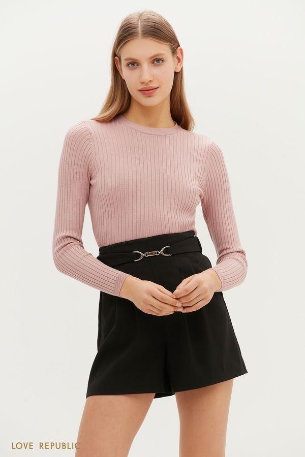 Короткие шорты с фигурным поясом на талии 1151264748-50