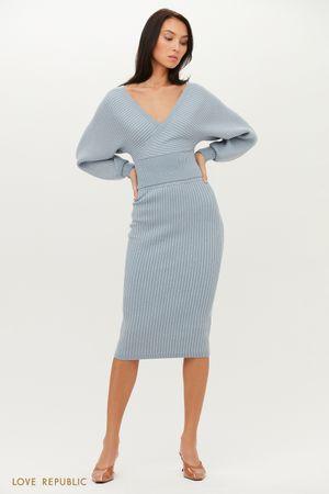 Трикотажная юбка миди в рубчик с люрексом