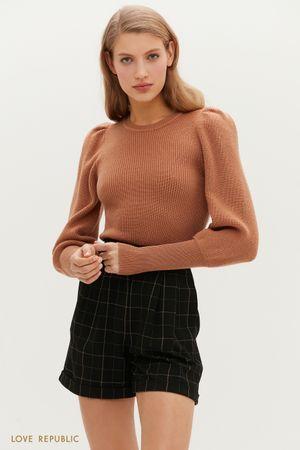 Джемпер фактурной вязки с рукавами-буфами и ультраширокими манжетами