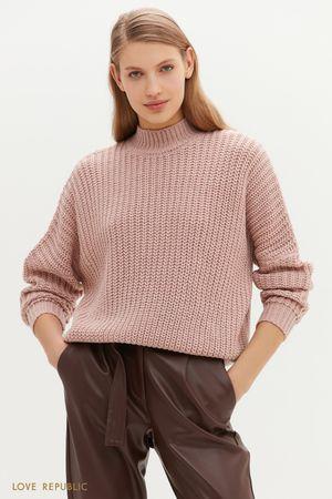 Свитер с крупной вязкой светло-розового цвета