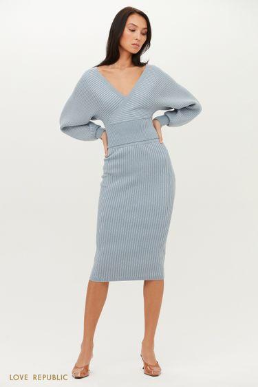 Трикотажная юбка миди в рубчик с люрексом 1151309229