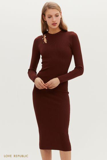 Трикотажное платье миди с вырезом на плече 1151328562