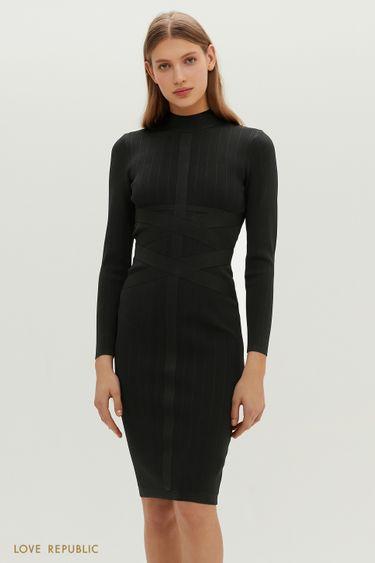 Трикотажное миди-платье с акцентными широкими лентами 1151329563