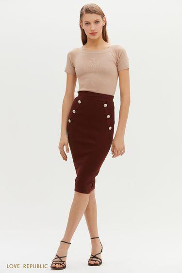 Трикотажная юбка-карандаш с пуговицами по бокам 1151333227