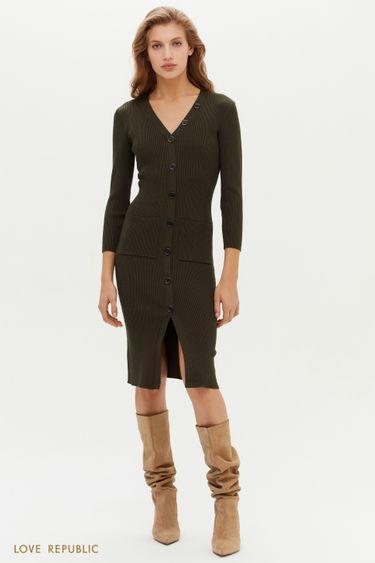 Трикотажное платье в рубчик с накладными карманами 11513440574