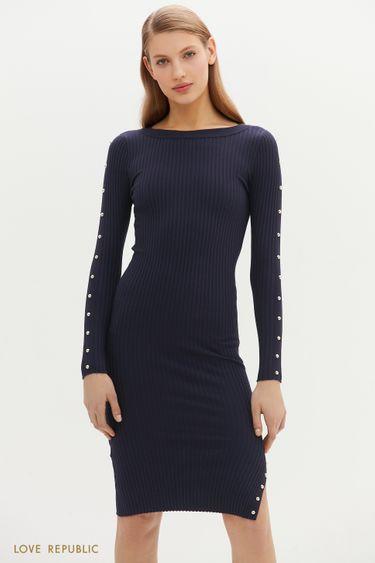 Приталенное платье миди с декоративными заклёпками 1151365577