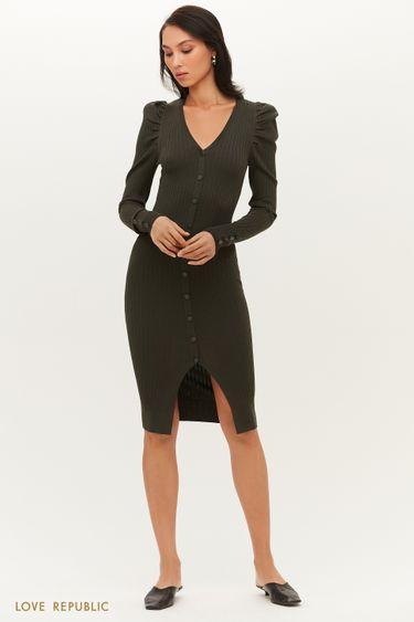 Трикотажное миди платье в рубчик с рукавами-фонариками 1151368583