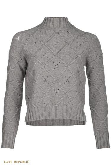 Теплый свитер с фигурным рельефом и перфорацией 1151371848