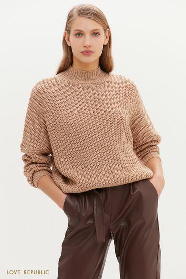 Свободный свитер крупной вязки 1151379838