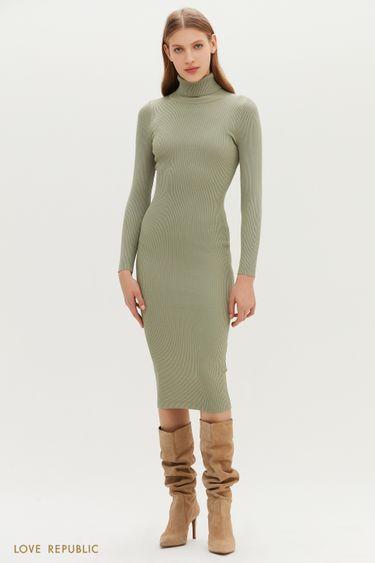Трикотажное платье миди оливкового цвета 1151382589