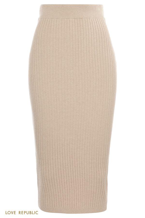 Трикотажная юбка миди в рубчик с люрексом 1151309229-50
