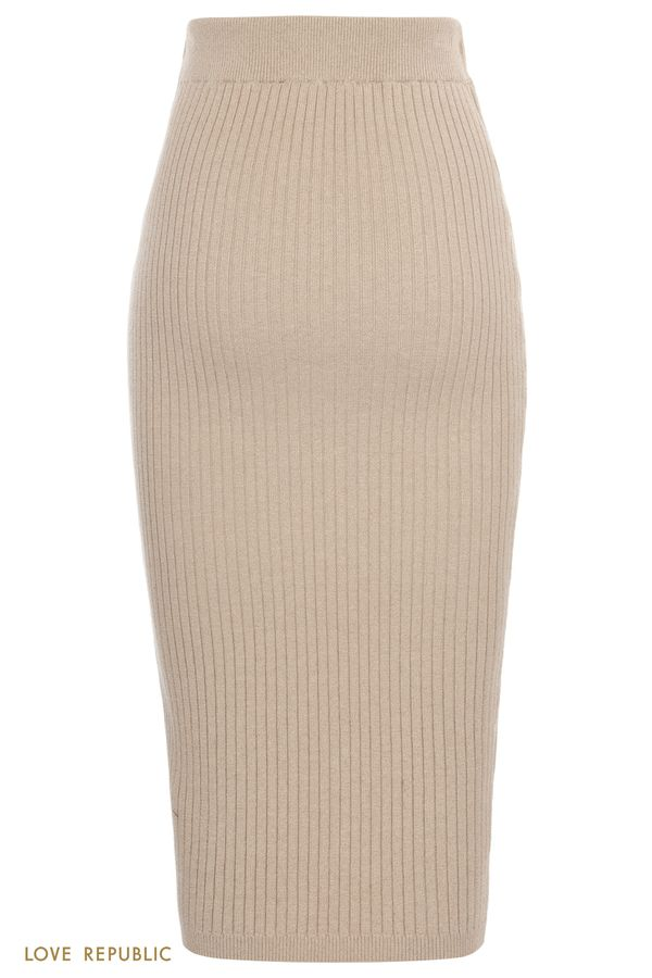Трикотажная юбка миди в рубчик с люрексом 1151309229-13