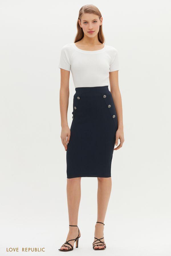 Трикотажная юбка-карандаш с пуговицами по бокам 1151333227-47