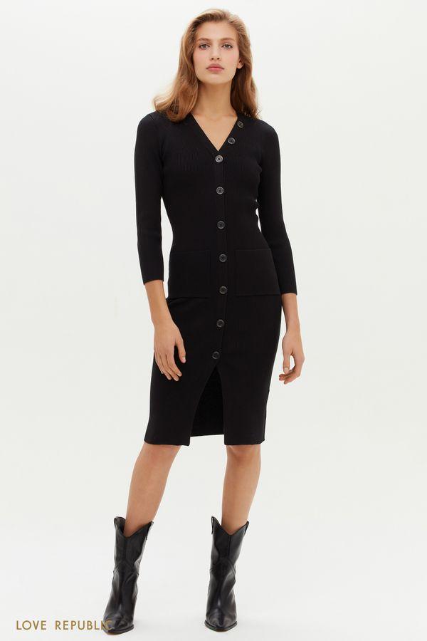 Трикотажное платье в рубчик на пуговицах 1151344574-50