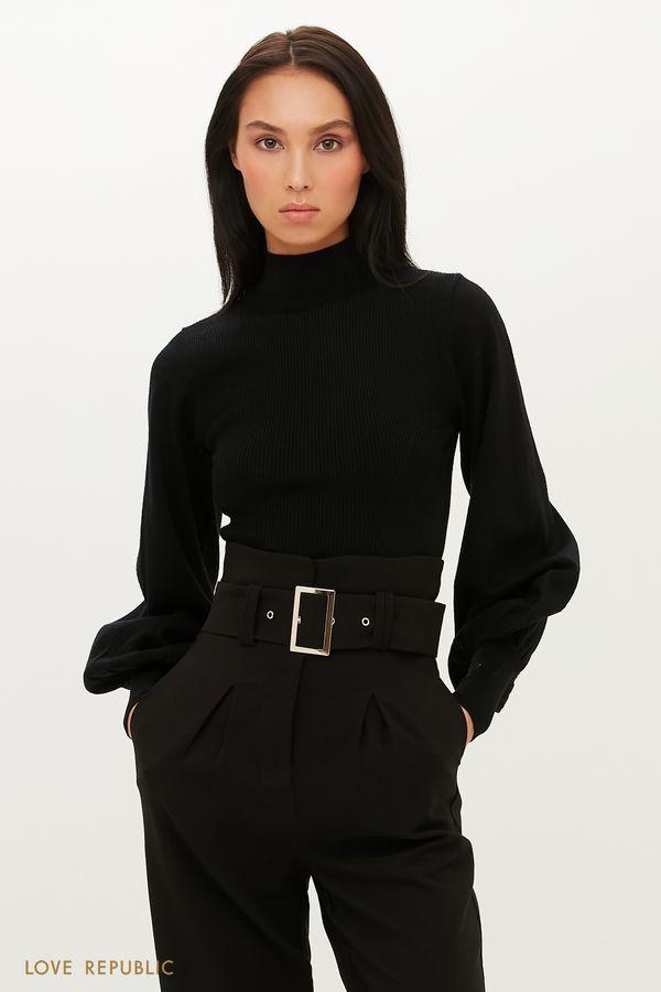 Трикотажный свитер с пышными рукавами 1151357823-3