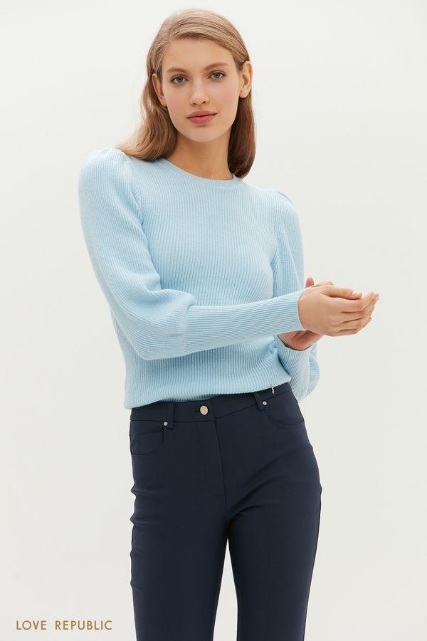 Джемпер фактурной вязки с рукавами-буфами и ультраширокими манжетами 1151360843-60