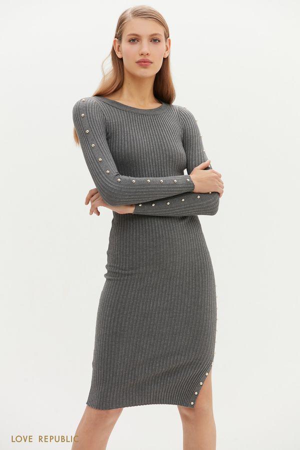Приталенное платье миди с декоративными заклёпками 1151365577-47