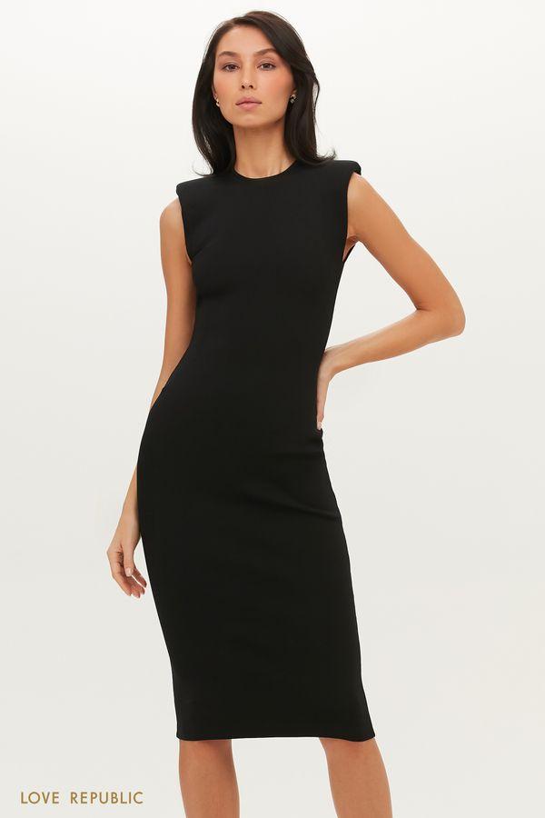 Платье миди с акцентными плечами 1151367582-50