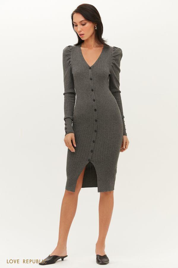 Трикотажное миди платье в рубчик с рукавами-фонариками 1151368583-47