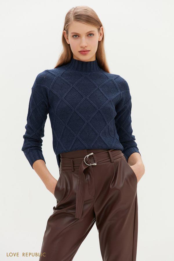 Теплый свитер с фигурным рельефом и перфорацией 1151371848-38