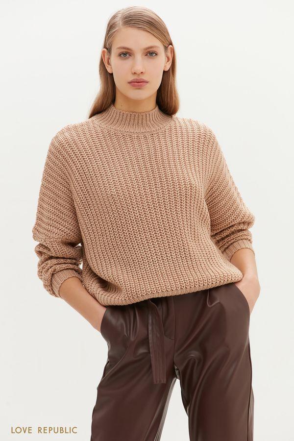 Свободный свитер крупной вязки 1151379838-60