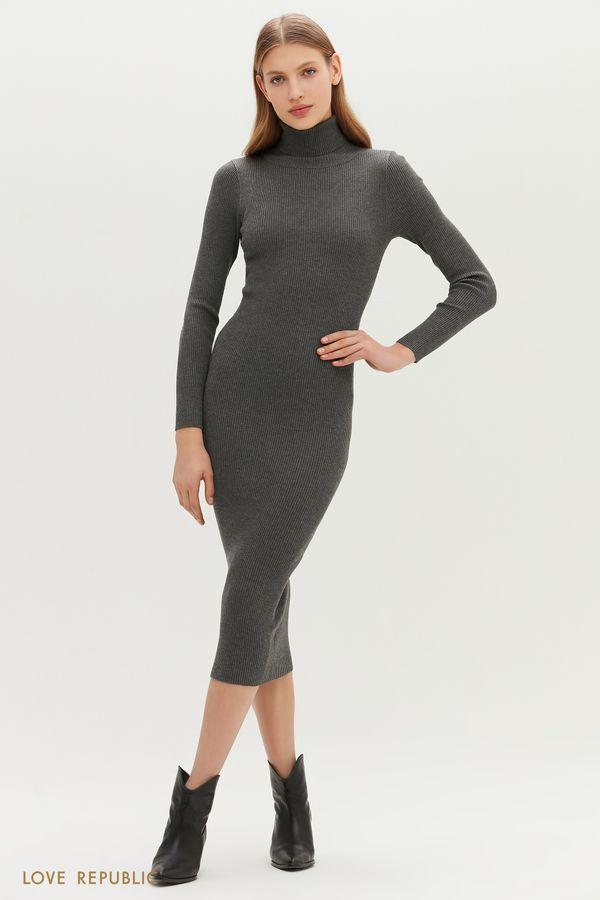 Трикотажное платье миди с высоким воротником 1151381589-38