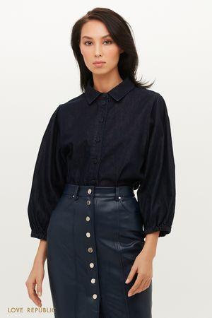 Трендовая джинсовая рубашка с объемными рукавами