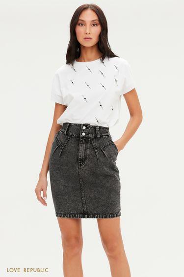 Джинсовая юбка мини с жемчужными пуговицами 1151402209