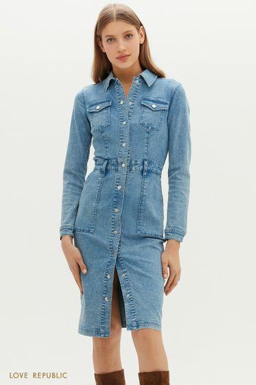 Приталенное джинсовое платье на заклепках 1151404517