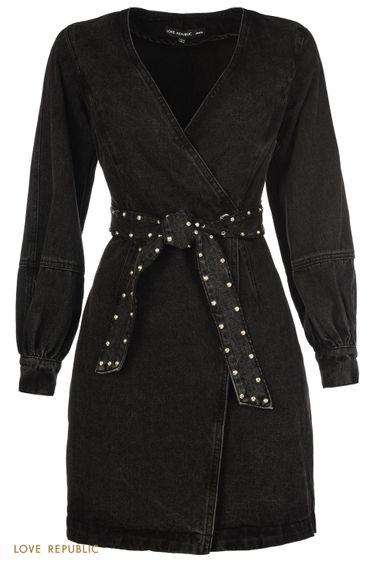 Джинсовое платье мини с запахом и поясом со стразами 1151407509
