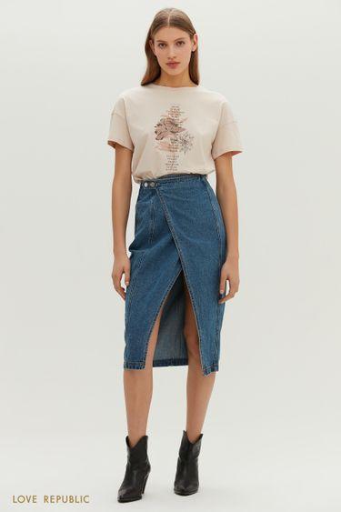 Эффектная джинсовая юбка-карандаш с запахом 1151411206