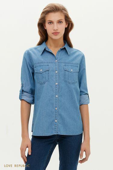 Джинсовая рубашка с нагрудными карманами 1151423344