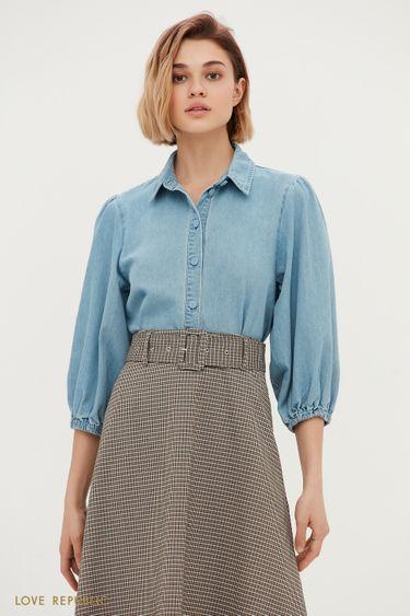 Трендовая джинсовая рубашка с объемными рукавами 1151424345