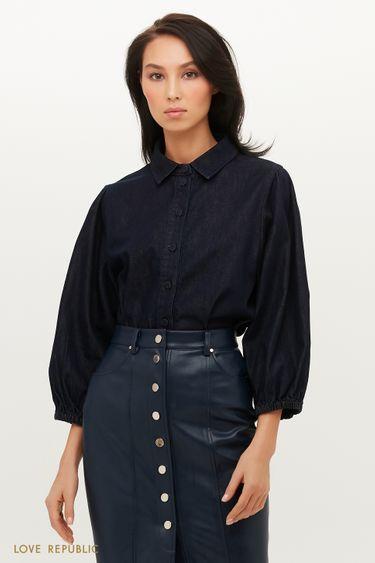 Трендовая джинсовая блузка с объемными рукавами 1151424345