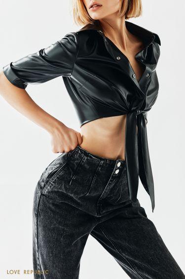 Серые джинсы с фактурными швами 1151431706