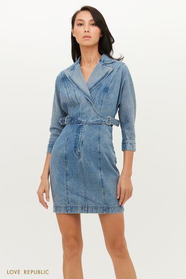 Джинсовое платье мини с запахом и декоративными ремешками 1151432516