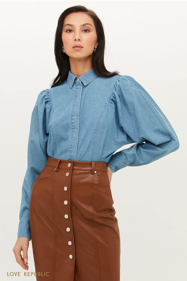 Трендовая джинсовая рубашка с объемными рукавами 1151401302-102